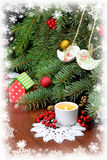 Festive composition with Christmas tree and a burning candle. ca Royalty Free Stock Photo