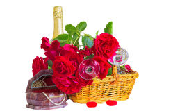 Festive composition with roses on a white background Royalty Free Stock Photography