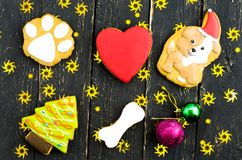 Festive composition of sweets. Multicolored gingerbread. Stock Images