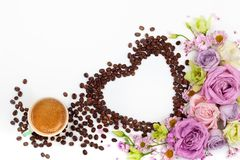 Valentine day greeting card with flowers and cup of coffee stock images