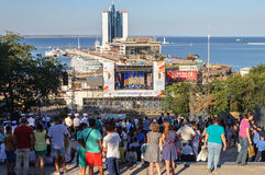Festive concert on Potemkin Stairs in Odessa Royalty Free Stock Photo