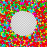 Festive confetti. Bright colorful round confetti frame isolated on transparent background. Vector illustration. Festive confetti. Bright colorful round confetti Royalty Free Stock Photos