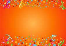 Festive confetti from a cannon on a horizontal poster. Vector illustration Royalty Free Stock Photography