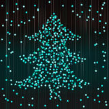 Festive confetti in the form of a fir-tree. Abstract turquoise b Royalty Free Stock Photo
