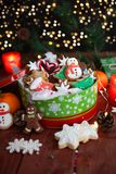 Festive cookie jar with cookies stock photo