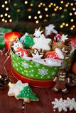 Festive cookie jar with cookies royalty free stock images