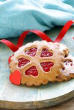 Festive cookies decorated with Jelly hearts Royalty Free Stock Images