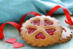 Festive cookies decorated with Jelly hearts Royalty Free Stock Image