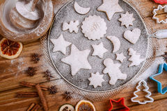 Festive cookies decorated on rustic table Stock Photography