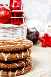 Festive cookies and decoration Stock Photos