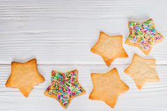 Festive cookies with funfetti. On wooden table. Top view Royalty Free Stock Images