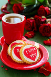 Festive cookies with hearts Royalty Free Stock Photography