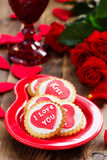 Festive cookies with hearts Royalty Free Stock Photos
