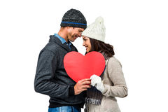 Festive couple in winter clothes royalty free stock photos