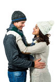 Festive couple in winter clothes stock photo