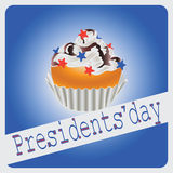 Festive cupcake to the Presidential day. Congratulations. Vector image for holiday cards, logos, icon with symbols of the United States Royalty Free Stock Photo