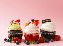 Festive cupcakes with berries Stock Photography