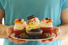 Festive cupcakes with berries Royalty Free Stock Images