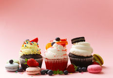 Festive cupcakes with berries Stock Photo