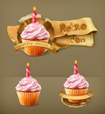 Festive cupcakes with candle. Retro vector icons Royalty Free Stock Photos