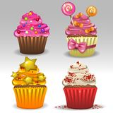 Festive cupcakes. Illustration of four festive cupcakes Stock Photos