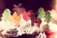 Festive cupcakes with reindeer decorations Royalty Free Stock Photos