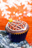 Festive cupcakes, snowflake, glitter Stock Images