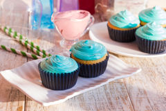 Festive cupcakes. Vanilla cupcakes with mint cream Stock Photo