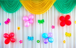 Festive curtain. With balloons and butterflies Royalty Free Stock Photo