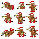 Festive Cute Gingerbread Men Set. Set of 9 cute festive gingerbread men with hat & scarf Royalty Free Stock Photo