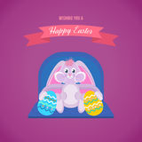 A festive cute hare keeps beautifully decorated chicken eggs. Happy easter greeting card. A festive cute hare keeps beautifully decorated chicken eggs. Vector Royalty Free Stock Image