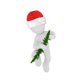 Festive 3d man in a red Santa hat. Carrying a small green christmas tree in his arm as he walks towards the viewed, rendered illustration Royalty Free Stock Image