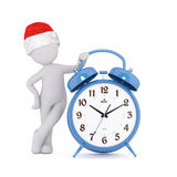 Festive 3d man in a Santa hat with an alarm clock. Festive 3d man in a Santa hat leaning on a blue alarm clock with bells showing the time, rendered illustration Royalty Free Stock Images