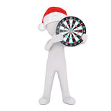 Festive 3d man in a Santa hat holding a target. Festive 3d man in a Santa hat holding a dart board target up in his hands conceptual of business goals Stock Images