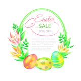 Festive 3d vector ground. Easter sale. Easter eggs and flower in white background. Frame and space for text. Design for. Paschal banner, greeting card, ad Royalty Free Stock Photo
