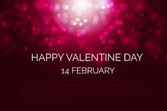Festive dark red background with heart shape bokeh for Valentines day. Festive dark red background with heart shape bokeh, defocused lights for Valentines day Stock Photo