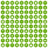 100 festive day icons hexagon green. 100 festive day icons set in green hexagon isolated vector illustration Stock Illustration