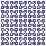 100 festive day icons hexagon purple. 100 festive day icons set in purple hexagon isolated vector illustration Vector Illustration