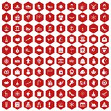 100 festive day icons hexagon red Royalty Free Stock Image