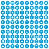 100 festive day icons set blue. 100 festive day icons set in blue hexagon isolated vector illustration Royalty Free Stock Photos