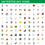 100 festive day icons set, cartoon style. 100 festive day icons set in cartoon style for any design illustration stock illustration