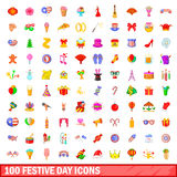 100 festive day icons set, cartoon style. 100 festive day icons set in cartoon style for any design vector illustration Stock Illustration