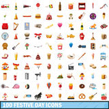 100 festive day icons set, cartoon style Stock Image