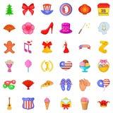 Festive day icons set, cartoon style. Festive day icons set. Cartoon style of 36 festive day vector icons for web isolated on white background Stock Image