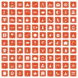 100 festive day icons set grunge orange. 100 festive day icons set in grunge style orange color isolated on white background vector illustration stock illustration