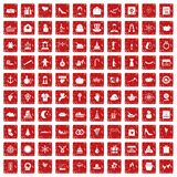 100 festive day icons set grunge red. 100 festive day icons set in grunge style red color isolated on white background vector illustration Royalty Free Stock Images