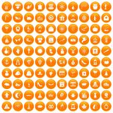 100 festive day icons set orange. 100 festive day icons set in orange circle isolated on white vector illustration stock illustration
