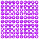 100 festive day icons set purple. 100 festive day icons set in purple circle isolated on white vector illustration Stock Photography