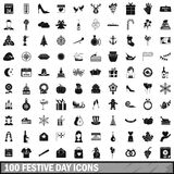 100 festive day icons set, simple style. 100 festive day icons set in simple style for any design vector illustration Royalty Free Stock Photography