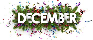 Free Festive December Banner With Colorful Serpentine. Stock Images - 104088674